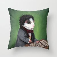 guinea pig Throw Pillows featuring Franz Schubert the Guinea Pig by When Guinea Pigs Fly