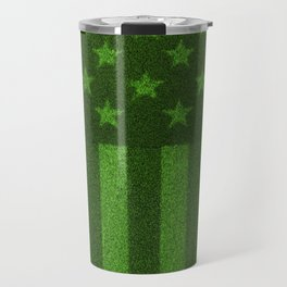 The grass and stripes / 3D render of USA flag grown from grass Travel Mug