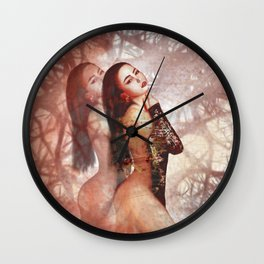 Beautiful asian girl with beauty face digital painting Wall Clock