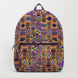 Kente Cloth // Anzac Yellow & Persian Blue Backpack