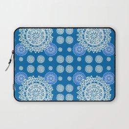 Bright Blue and Silver Kaleidoscope Mandala Pattern Laptop Sleeve