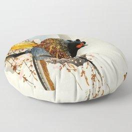 Pheasants on tree - Vintage Japanese woodblock print Art Floor Pillow