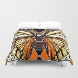 RIBBED WHITE BROWN & BLACK BUTTERFLY WING VEINS Duvet Cover