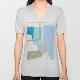 stone by stone 4 - abstract art fresh color turquoise, mint, purple, white, gray Unisex V-Neck