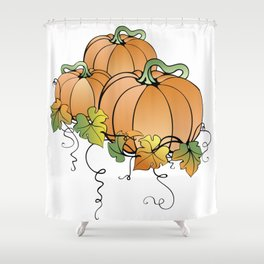 Pumpkins with leaves Shower Curtain