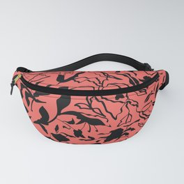 Floral texture with tulips, irises and leaves Fanny Pack