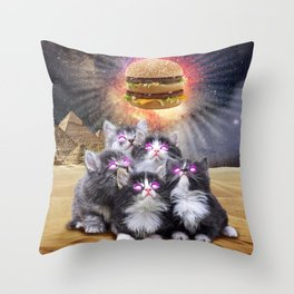 space cats looking for the burger Throw Pillow