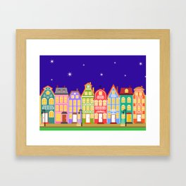 Cute Night Town Cartoon Houses Framed Art Print