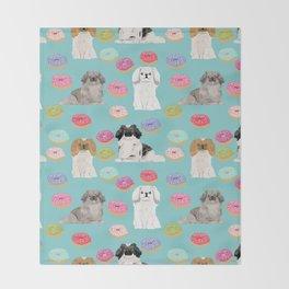 Pekingese dog breed dog pattern pet portraits donut food dog breeds pet friendly Throw Blanket