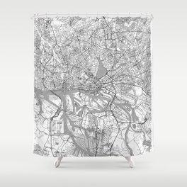 Hamburg Map Line Shower Curtain