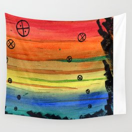 rainbow aliens Wall Tapestry