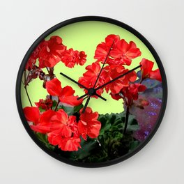 Red  Geranium Flowers Yellow-Green Art Abstract Wall Clock
