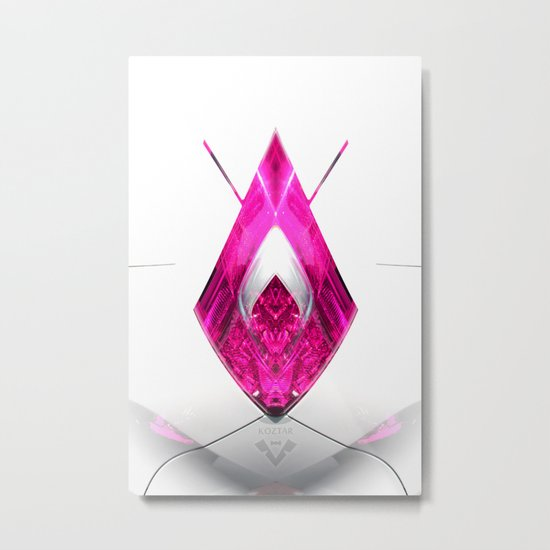 PINK ROSE ace of diamonds Metal Print