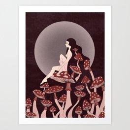 Mushroom Queen, 70s, 60s, 1920s, art nouveau inspired art Art Print