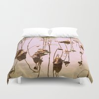 lotus Duvet Covers featuring lotus by Bunny Noir
