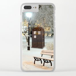 TARDIS in SNOW Clear iPhone Case