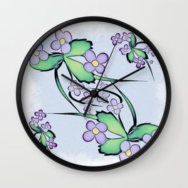 Painterly Violets Wall Clock