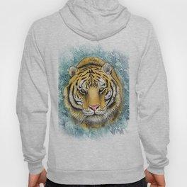 Amur Tiger Watercolor Portrait Hoody