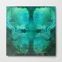 """Abstract aquamarine, deep waves"" Metal Print"