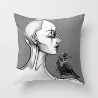 crow Throw Pillows featuring Crow by Sam Pea