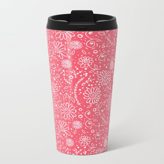 Red doodle floral pattern Metal Travel Mug