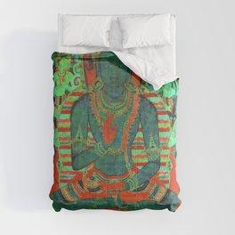Psychedelic Buddha Lotus Thangka Green Comforters