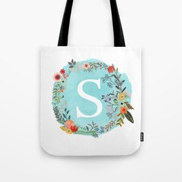 Personalized Monogram Initial Letter S Blue Watercolor Flower Wreath Artwork Tote Bag