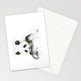panda with munchies Stationery Cards