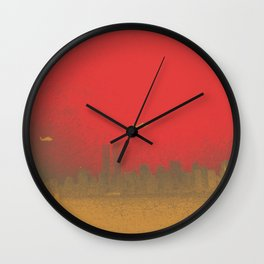 World Trade Center with Helicopters 1998 Wall Clock
