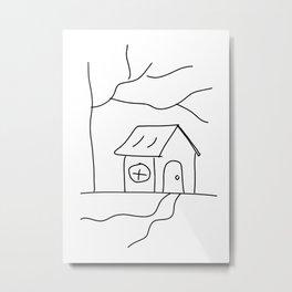 Home Line Drawing Metal Print