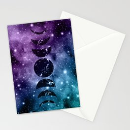 Purple Teal Galaxy Nebula Dream Moon Phases #1 #decor #art #society6 Stationery Cards