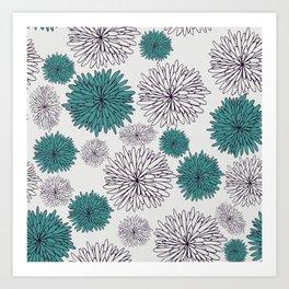 Blue Dandilions Art Print