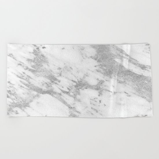 Marble - Silver and White Marble Pattern Beach Towel
