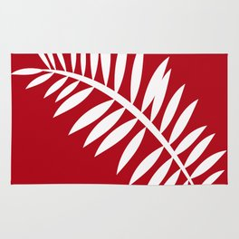 PALM LEAF RED AND WHITE PATTERN Rug
