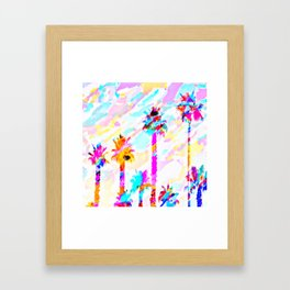 palm tree with colorful painting texture abstract background in pink blue yellow red Framed Art Print