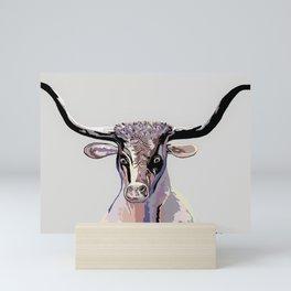 Longhorn in Denim Colors Mini Art Print