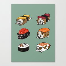 Sushi English Bulldog Canvas Print