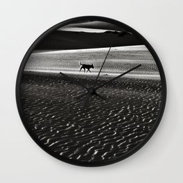 Walking alone through the desert of life Wall Clock