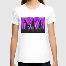 Dancing Girls On Purple With White Lights T-shirt