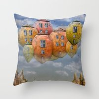 home sweet home Throw Pillows featuring Sweet Home by teddynash