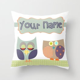 Personalized Home decor owls patchwork style in Nursery room Monogrammed Custom Kids Name Wall Decor Throw Pillow