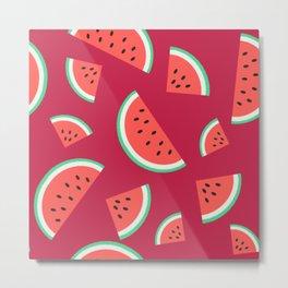 Watermelon Summer Pattern - purple Metal Print