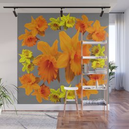 YELLOW-GOLD SPRING DAFFODILS & CHARCOAL GREY COLOR Wall Mural