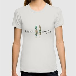 Hike More Worry Less Blue And Cream Feather T-shirt