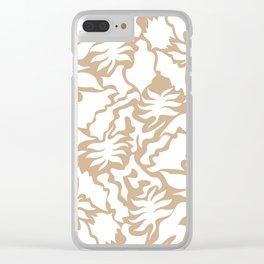 Minimal Shapes Peach Skintone Fall Palm Leaf Pattern Digital Art Print Clear iPhone Case