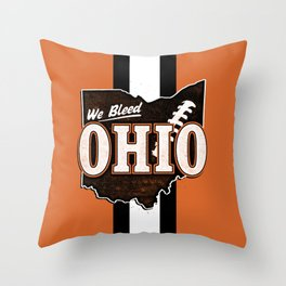 We Bleed Orange and Brown Throw Pillow