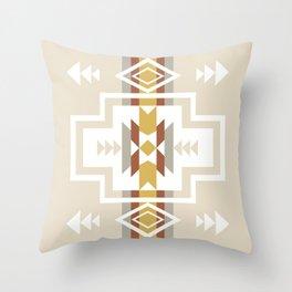 Aztec Stripes Beige Throw Pillow