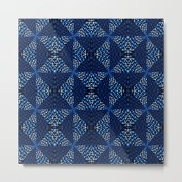 Indigo Blues Geometric Magic Quilt Print Metal Print