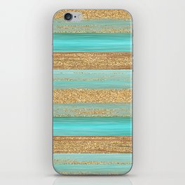 Turquoise Brown Faux Gold Glitter Stripes Pattern iPhone Skin
