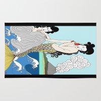 mermaids Area & Throw Rugs featuring Japanese Mermaids by Paul Bridgeman